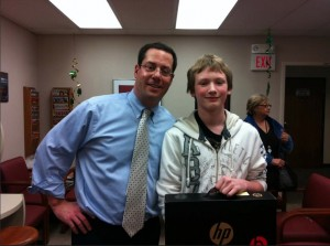 Dr scott nawy presents anti bullying poster contest winner jake clark
