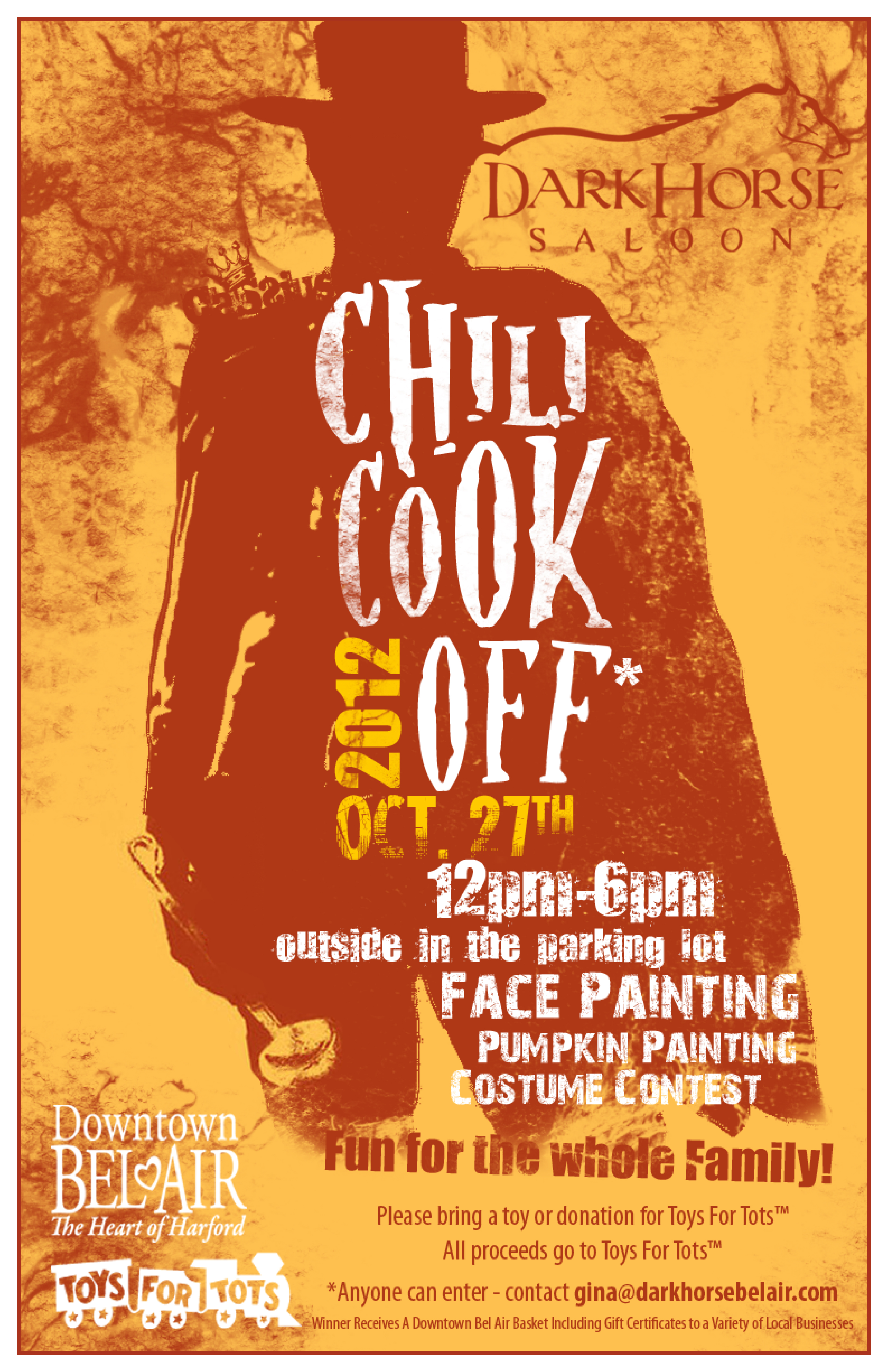 chili cook off fundraiser for toys for tots at dark horse saloon in bel air oct 27