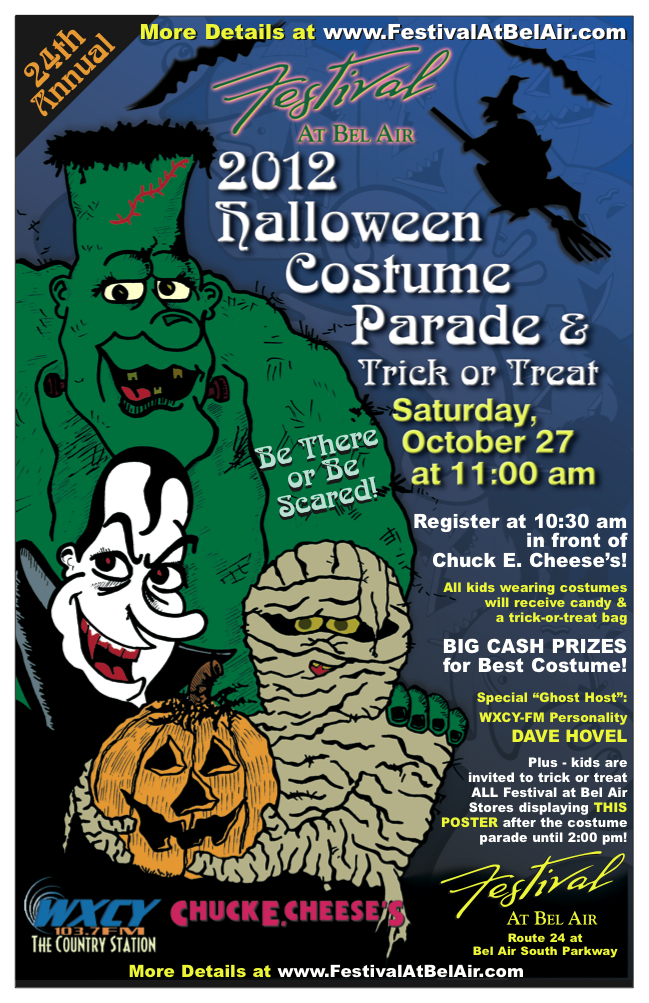 the 24th annual halloween costume parade and contest returns to the festival at bel air shopping center oct 27 registration opens at 1030 am in front