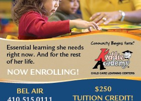 Kiddie Academy is offering a $250 tuition credit for new enrollments through June 28 at its Bel Air and Forest Hill locations