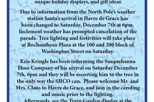 Havre de Grace's First Fridays event takes place tonight, Santa arrives in town Saturday at 6 p.m.