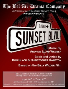 Bel Air Drama Company presents Sunset Boulevard April 10, 11 & 12 at Bel Air High School