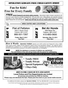 operation Kidsafe Parent Notice Fallston MD 2014