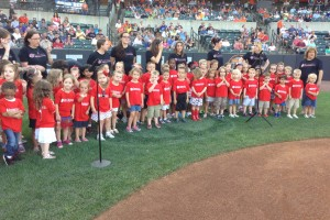 "Goddard School preschoolers performed the ""Star Spangled Banner"" at the IronBirds' game on Friday"