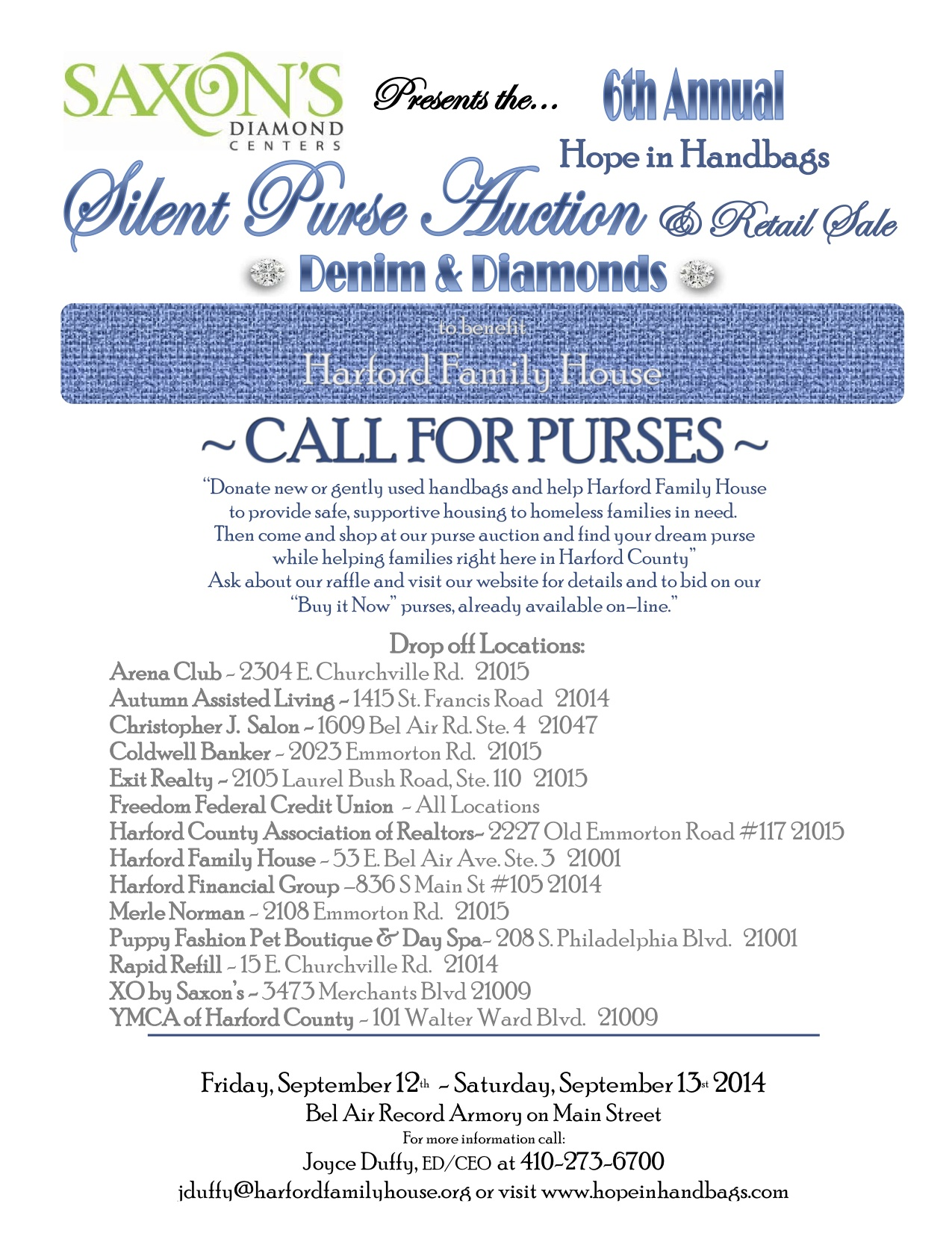 Organizers Of The Hope In Handbags Purse Auction Seek Donations New And Gently Used For Fundraiser Sept 12 13 That Benefits Harford