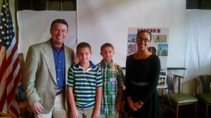 Harford County Executive-elect Barry Glassman poses with Constitution Day winners Tyler Hansen, Tyler Kaplan and Kayla Everett