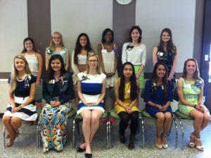 Seated from the left: Madelyn Brainard, Emma Stump, Julia Arbutus, Hannah Del Rosario, Isha Mehta, Samantha Bowen Standing from the left: Megan O'Neill, Taylor May, Claire Marie Grunewald, Kellie Trusty, Amelia Robinson, Mikaela Christian Boyanich