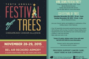 Chesapeake Cancer Alliance's Festival of Trees is coming up Nov. 28-29 at the Bel Air Armory