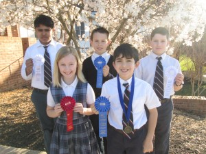 Math Olympics Winners: Back row: Kush Patel, Jude Walters, Matthew Crowe. Front row: Sydney Fitzpatrick, William Keane