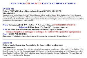 Girl Scouts invite potential scouts to join them at their annual camping event at Ripken Stadium June 3