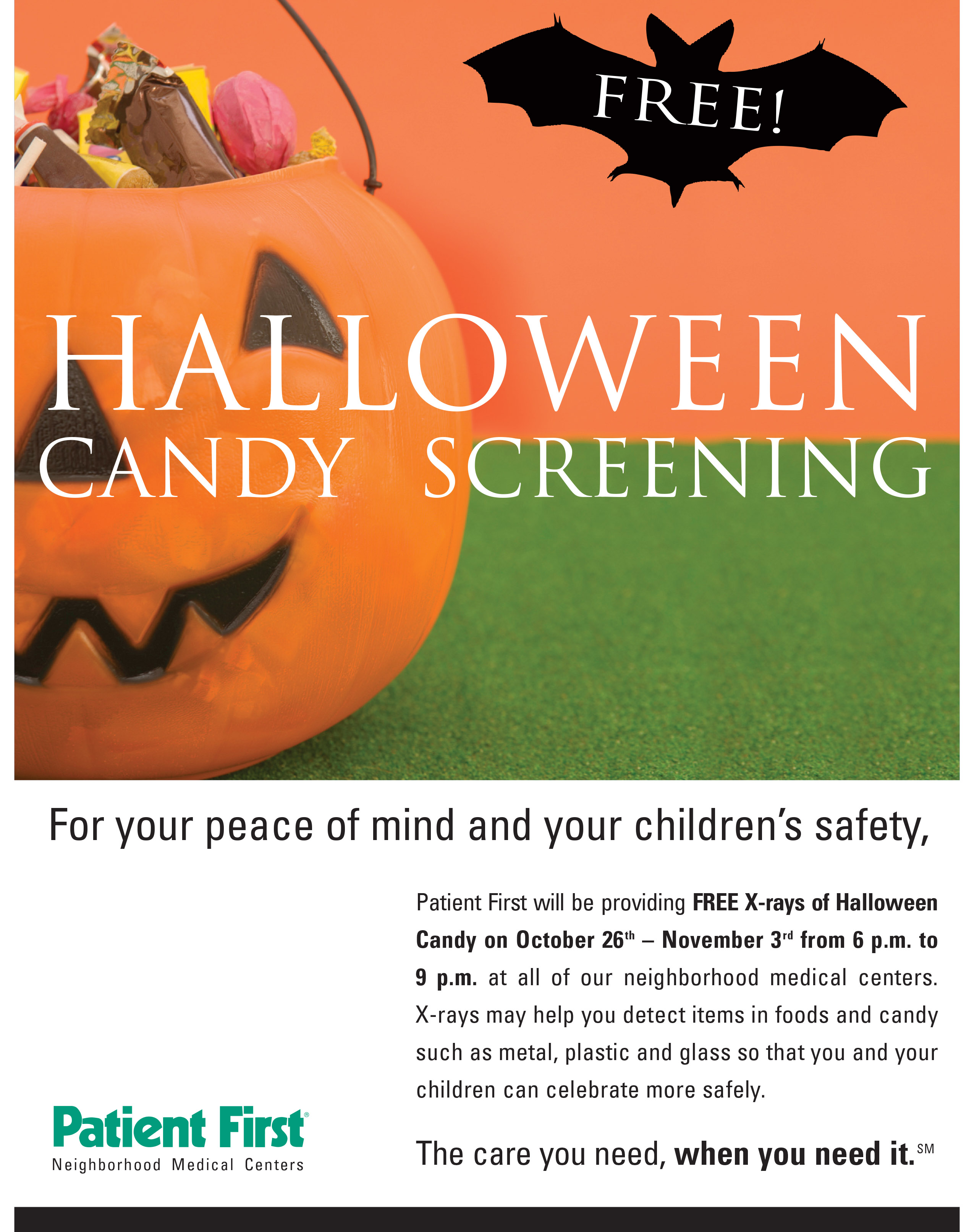 patient first is offering free digital x-ray imaging of halloween